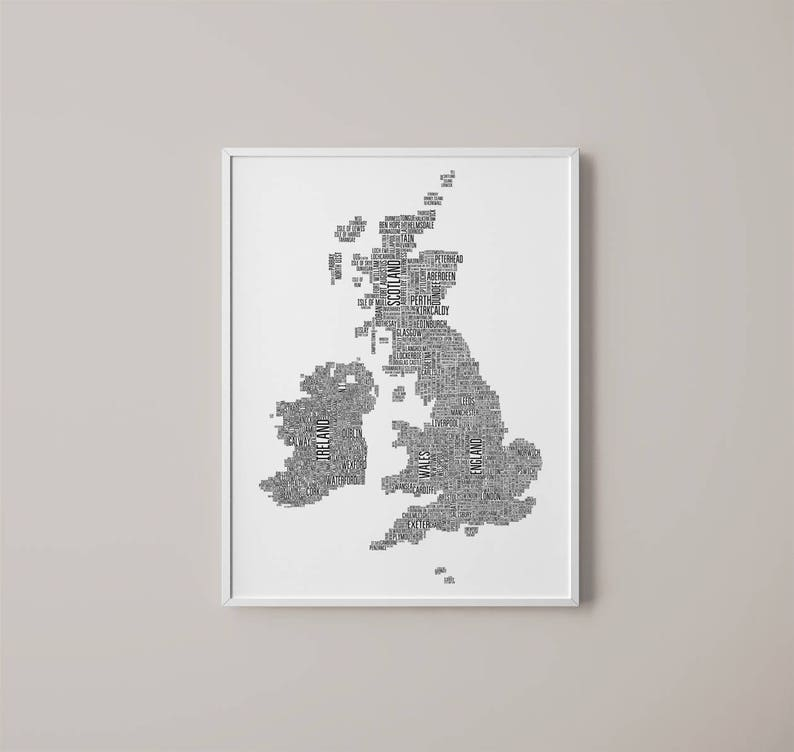 Map Of England Ireland Scotland Wales.Uk Map Printable Art New House Gift Great Britain Etsy
