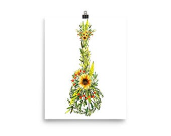Happy Sunflower Ukulele Print Poster