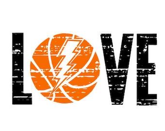 LOVE Basketball Lightening bolt SVG Distressed