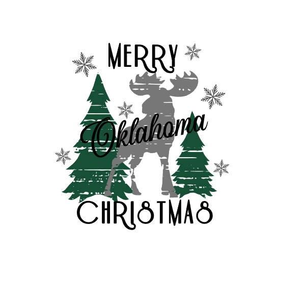 Distressed Merry Oklahoma Christmas Svg Etsy