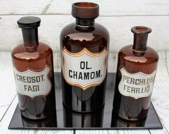 Vintage Apothecary Scientific Amber Brown Glass Bottles - Set of 3