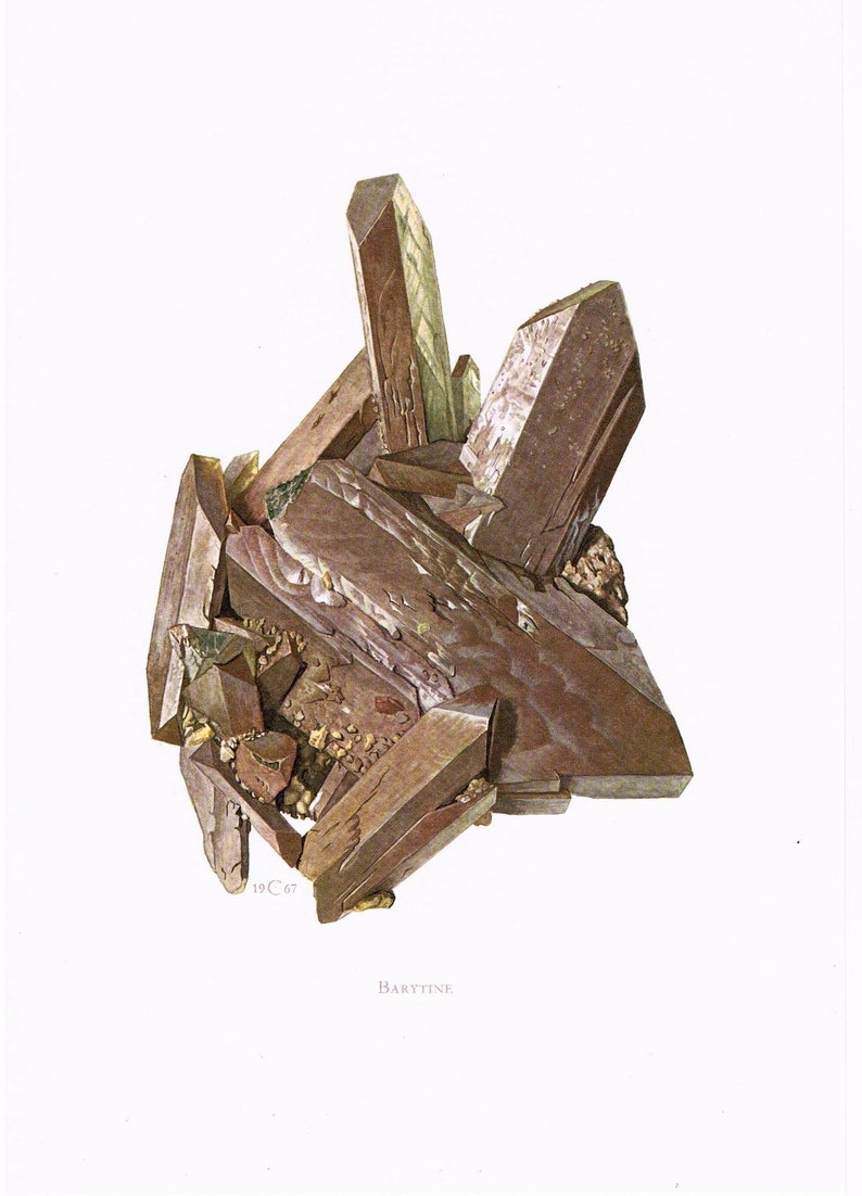 1967 BARITE BARYTE crystal original illustration page paper print metal vintage mineral frame Precious Stone geology Gemstone Wall Art MIN94