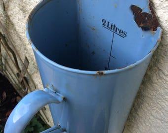 French Vintage Enamelware ,French Irrigator, Enamel jug, baby blue jug,French vintage enamel