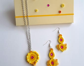 jewelery, necklaces, quilling necklace, yellow necklace, paper necklace, set of jewelery, paper earrings