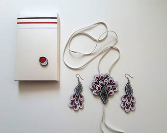 jewelery,  set of jewelery, quilling necklace, paper earrings