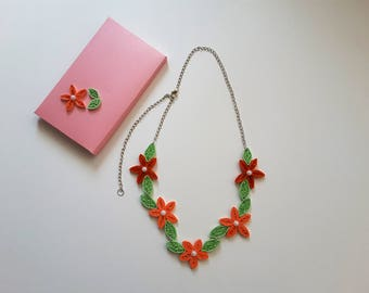 Quilling jewelery / something strung pendant / paper necklace / jewelery / necklace