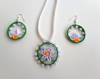 quilling necklace / something strung pendant / set of jewelery / paper necklace  earrings / orgnic jewelery