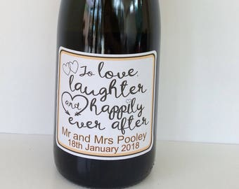 Wedding style Personalised wine/champagne/prosecco bottle sticker. Ideal wedding gift or personalise you wedding table wine