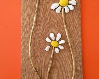 Pebble picture, Stone art , Pebble art picture , Home decor ,Wall art ,Unique gift , Daisy flowers