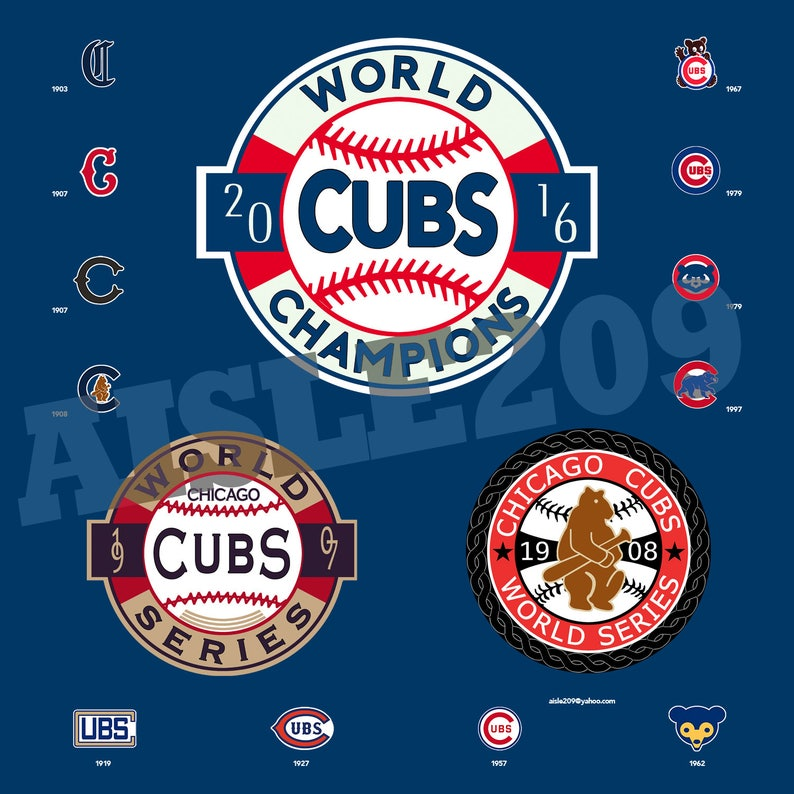 61347f8449a Chicago Cubs World Series Champions 1907 1908 2016 Wall Art