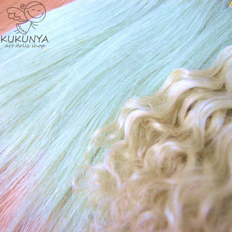 Natural Goat Mohair Hair Weft Light Green