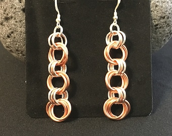 Copper and Silver Rosette/Mobius Chain Maille Earrings