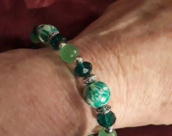 PRICE REDUCED! Three Handcrafted Beaded Bracelets/Main colors...green/pick one