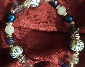 PRICE REDUCED! Blues/Multi/textured Beaded Bracelet