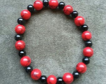 HANDCRAFTED red and black stretch BRACELET