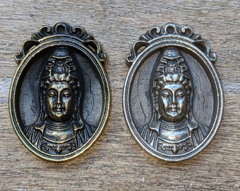 Antique Silver or Brass Plated Quan Yin Oval Pendant, 1pc. Kuanyin, Quanyin, Yoga, Namaste, Ethnic, 40x28mm