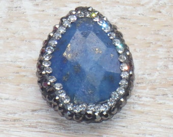 Pave Cz Crystal Encrusted Faceted Lapis Lazuli Gemstone Drop Bead