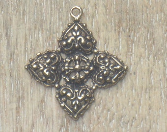 Solid Bronze or Matte Gold Vermeil Small Sacred Heart Cross Oval Charm Religious 17x10mm Spiritual