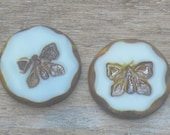 White Picasso Czech Glass Table Cut Butterfly Beads, 2pcs, 26mm