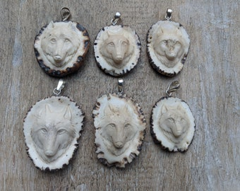 Free shipping Adoreable hand carved deer antler pig pendant