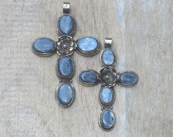 Sterling Silver and Blue Kyanite Cross Necklace