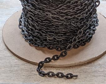 15mm x 1.7mm Matte Black Twisted Bar Link Chain #CC212