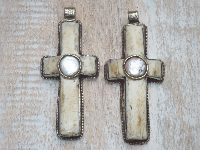 Bone Cross Pendant Tibetan Flower Tibetan Silver and Black Ox Bone Cross  Pendant Nepal Cross Pendant Ox Bone Cross