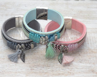 Boho Chic  Genuine Leather Tassel Charm Magnetic Clasp Cuff Bracelet