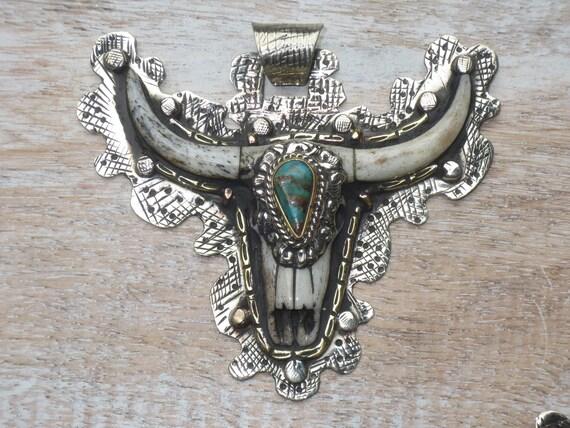 Steer Nepal Bull Bone Flower Pendant Tibetan Silver and Ox Bone Longhorn Repousse Pendant