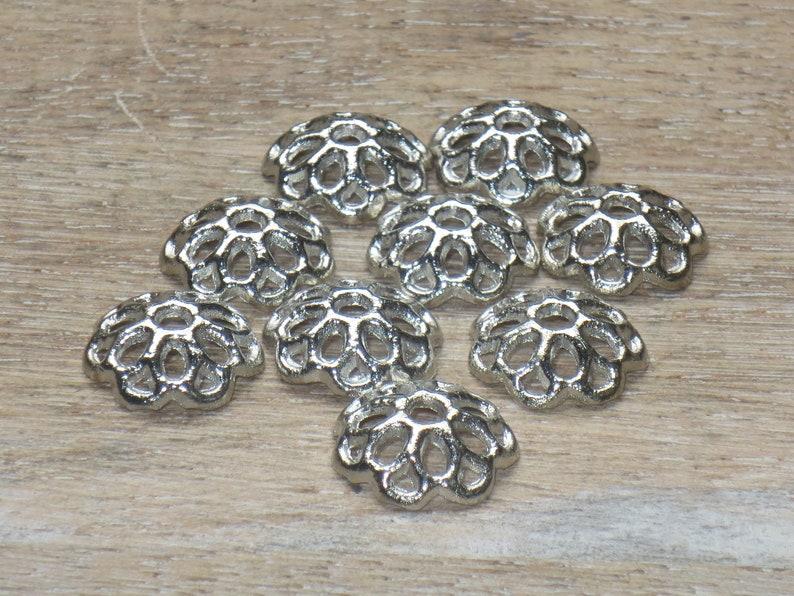 Antique Silver Filigree Flower Bead Caps 50pcs. 11mm