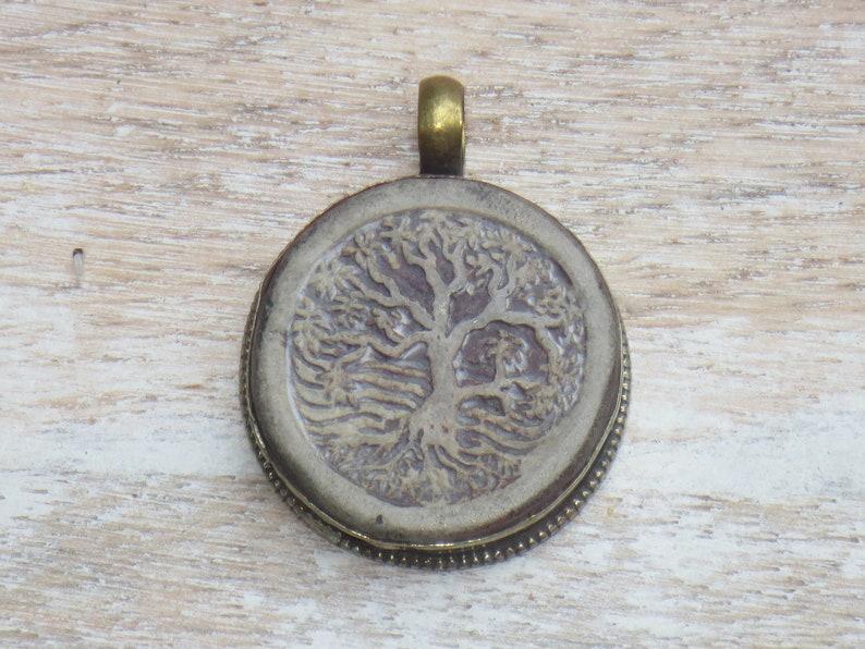 Nepalese Pendant Namaste Nepal Tree of Life Pendant Tibetan Brass Carved Tree of Life Pendant Yoga