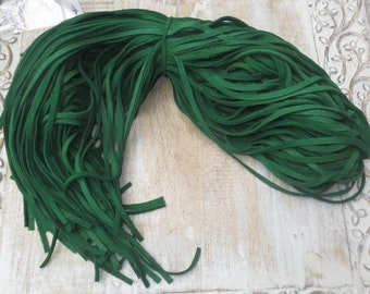 """Green Deerskin Soft Leather Lace 3/16""""/5mm/ 40"""" Pieces/ 5pcs., Strips"""