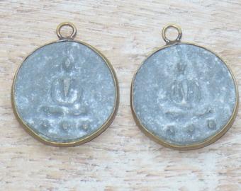Tibetan Stone and Brass Sitting Buddha Charms- Namaste Charms- Yoga Charms, Nepal, Nepalese, Ethnic