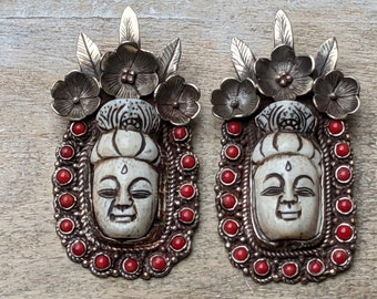 Tibetan Silver and Water Buffalo Bone and Coral Buddha Head with Flowers and Leaves Pendant, Lotus Flower, Nepal, Ethnic, 90x45mm