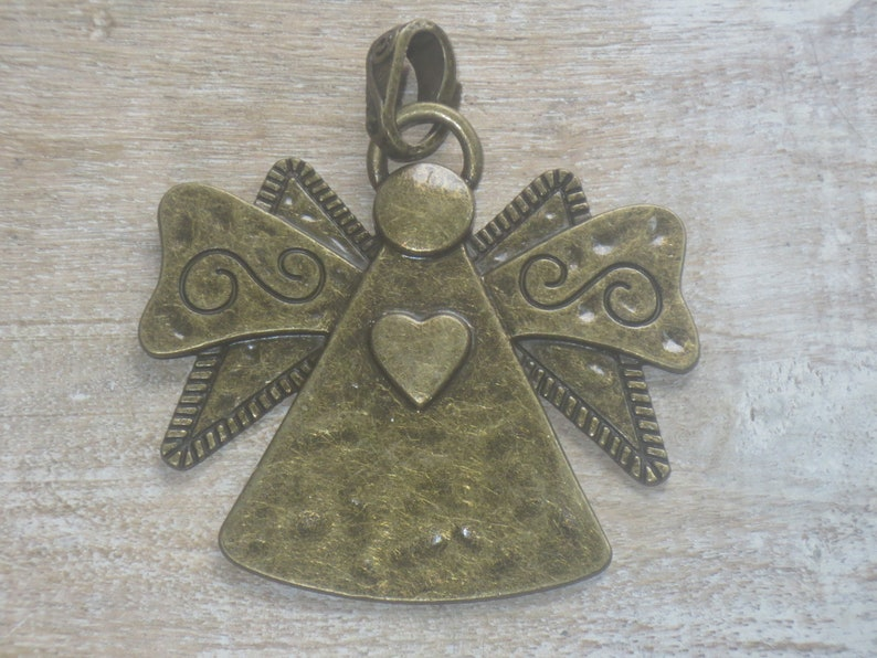 Large Antique Brass Hammered Angel with Heart Pendant Love Country 70x57mm