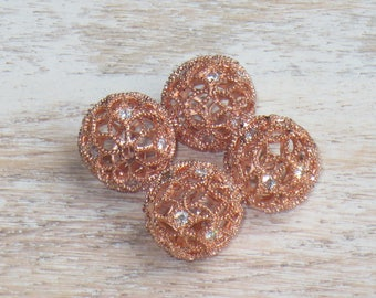 Cz Crystals and Rose Gold Filigree Beads 25mm