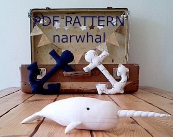 PDF pattern whale pattern narwhal soft toy pattern pdf toy pattern narwhal cute plush pattern narwhal pattern unicorn pattern plush whale
