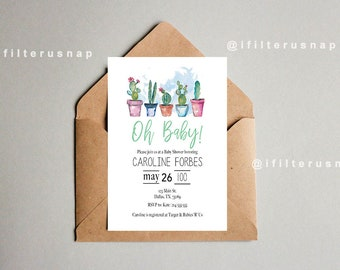 Cacti Baby Shower invitation