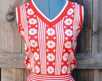 1960s vintage red pullover floral vest