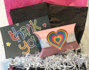 """Rainbow """"Thank You"""" Self Care Package *Limited Quantity* A Gift You Can Send to Anyone, Anywhere, Anytime!"""