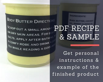 Printable Digital Recipe w/ Sample: Whipped Body Butter Body Lotion Organic Essential Oil Self Care Spa Party Whipped Shea Butter Skin C