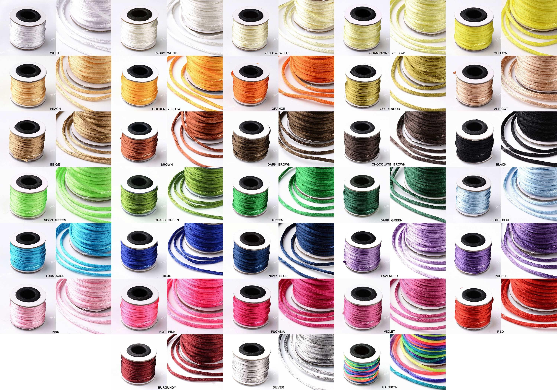 Satin Nylon Cord 2 mm Rattail Thread Kumihimo Shamballa Macrame  10 yards