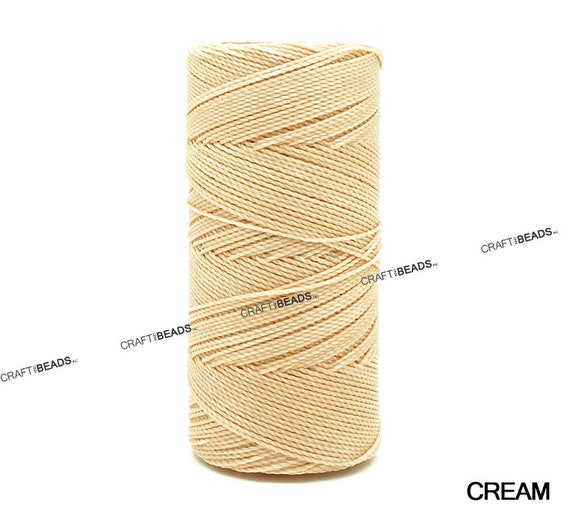 CREAM 1mm Waxed Polyester Twisted Cord Macrame Bracelet Thread Artisan String 30yards Skein