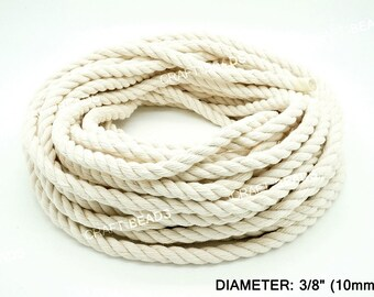 10MM - Natural White 3 Strand Cotton Twisted Cord Rope Craft Macrame Artisan 30 Feet Coil/Pkg