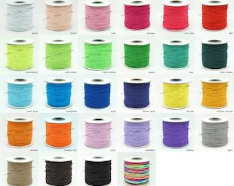 1MM Nylon Coated Round Elastic Cord Stretch Beading Mala String - Choose Color!
