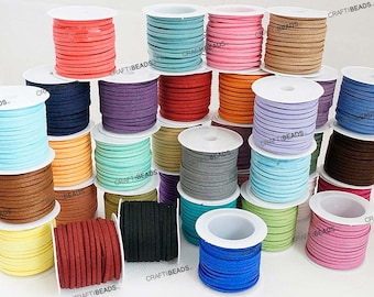 3MM x 1.5MM Faux Suede Cord Lace Bracelet Craft Jewelry Making (5yards Mini Spool) - You Pick Color!