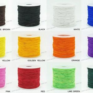 50yards Elastic Cord,2mm2.5mm Nylon Coated Round Elastic Cord Stretch Beading Mala String,Stretch Drawstring,Stretch Cord--Choose Color