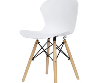 Retro Vintage Modern Designer Ribbed Curved Seat DSW Plastic Dining Chair Eiffel Style - 4 Colours Available
