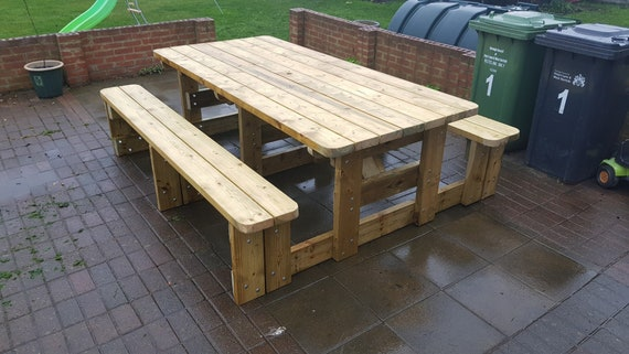 Excellent Garden Picnic Table Bench Set Various Sizes Available Thick Rustic Solid Heavy Duty Timber Wood Pub Restaurant Shop Cafe Dailytribune Chair Design For Home Dailytribuneorg