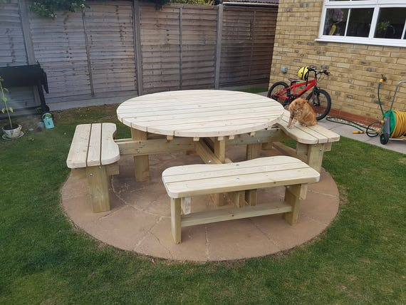 Swell Round Garden Picnic Table Bench Set Thick Rustic Solid Heavy Duty Timber Wood Pub Restaurant Shop Cafe Andrewgaddart Wooden Chair Designs For Living Room Andrewgaddartcom